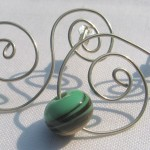 "green ""harvest"" spiral earrings"