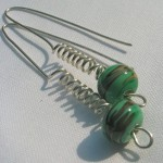 "green ""harvest"" spring earrings"