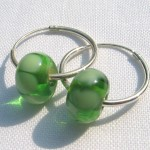 "green ""harvest"" small hoop earrings"