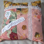 orange collage cushion cover