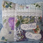 blue collage cushion cover