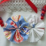 red, white & blue rosette necklace