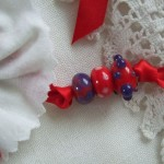 red, white & blue rosette necklace - detail