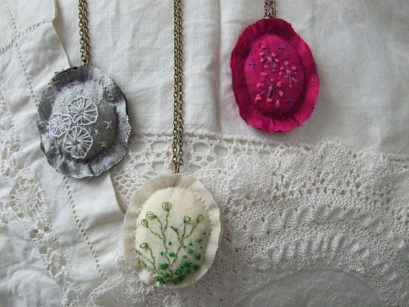 hand embroidered pendants