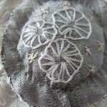 grey silk hand embroidered pendant - detail
