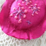 cerise silk hand embroidered pendant - detail