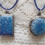 cross stitch pendants - blue