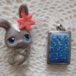 cross stitch pendant - blue