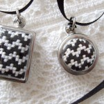 black & white chevron pendants